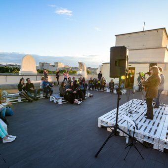 Author's songs concert on the Observation deck of Gorky Park Museum