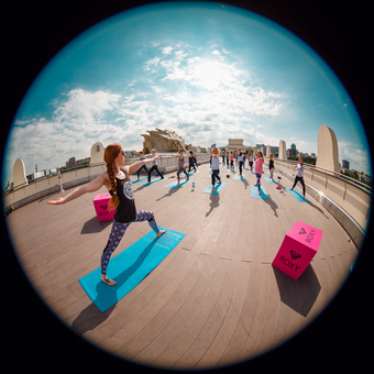 Roxy Yoga on the Observation deck of Gorky Park Museum
